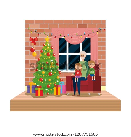 Grandfather Kids Livingroom Christmas Decoration Stock
