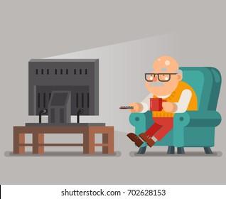 Grandfather Old Man Watching TV Sit Armchair Cartoon Character Flat Design Vector Illustration