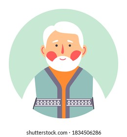 Grandfather portrait of senior male character, isolated circle with face of calm person. Gentleman with blush on cheeks. Grandpa with grey hair and wrinkles, elderly man, vector in flat style