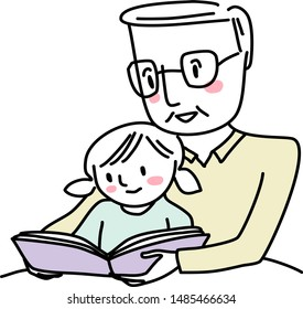 Grandfather reading bedtime story with little girl. Man reading a storybook to granddaughter. Little girl reading a storybook together with grandpa. Senior man spending happy family time with kid.