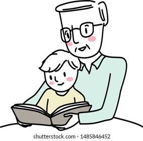 Grandfather reading bedtime story with little boy. Elderly man reading a storybook to grandson. Little boy reading a storybook together with grandpa. Senior man spending happy family time with kid.