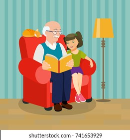 Grandfather is reading a book to her granddaughter. Grandfather and granddaughter are sitting in a chair. Vector flat style illustration