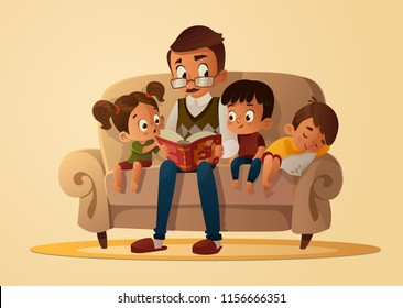 Grandfather sitting with grandchildren on a cozy sofa with the book, reading and telling book fairy tale story. Boys and girl listen to him. Vector cartoon illustration. Cozy family evening. Isolated