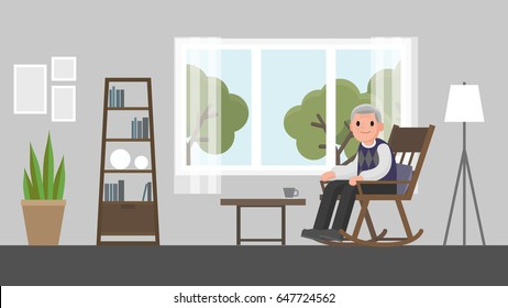 grandfather sitting on a rocking chair in living room.  senior man sitting on rocking chair. Vector illustration.