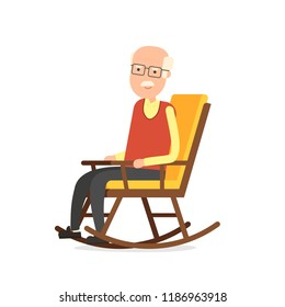 Grandfather sitting in rocking chair. Clipart image isolated on white background