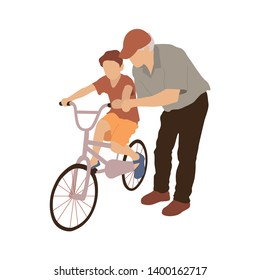 Grandfather teaching boy to ride a bicycle. Vector isolated flat illustration