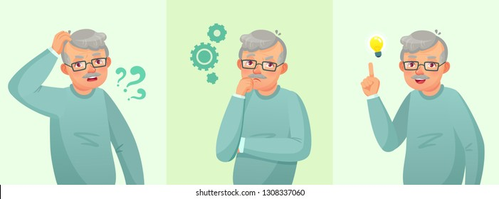 Grandfather thinking. Elderly man solved question, thoughtful senior male and confused old people. Forget and worried, suffering and dreaming grandpa vector cartoon concept illustration