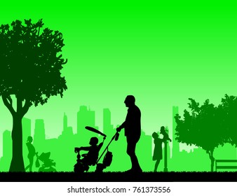 Grandfather walking with his grandson on a tricycle in park, one in the series of similar images silhouette