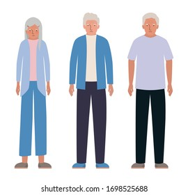 Grandfathers and grandmother design, Elder old person grandparents family senior and people theme Vector illustration
