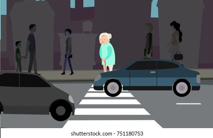 Grandma can't across the road. Indifference of people. Vector color illustration