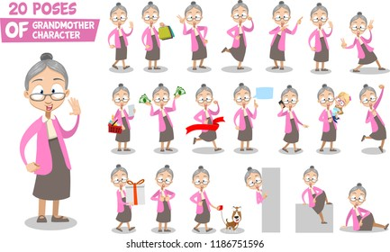 Grandma character animated set. Granny with dollar banknotes and shopping basket. Finish with red ribbon and walking with dog. Doing thumbs up, finger pointing and hello gestures vector illustration