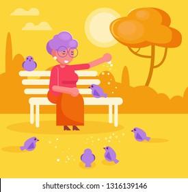 Grandma feeds pigeons in park Vector. Cartoon. Isolated art