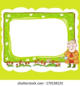Grandma And Flowers Frame.