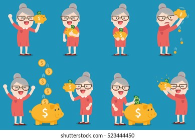 grandma with golden piggy bank, Pension