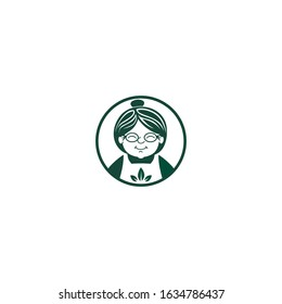 grandma or granny with natural leaf integrated icon vector logo template