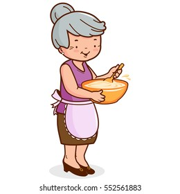 Grandma holding a bowl and cooking.