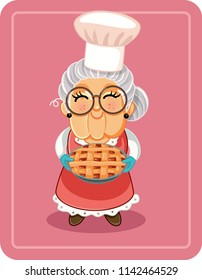 Grandma Holding Homemade Pie Vector Illustration. Vector drawing of a cute granny with home baked tart