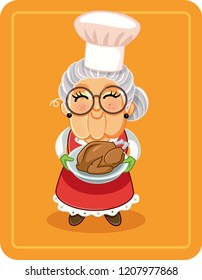 Grandma Holding Roasted Turkey Vector Illustration. Vector drawing of a cute granny with holiday dish
