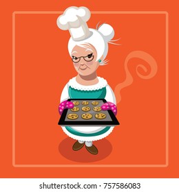Grandma holding warm cookies fresh from the oven. EPS 10 vector Illustration.