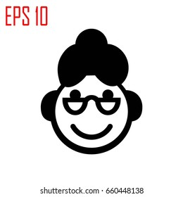 Grandma icon.Woman's face with glasses and curls