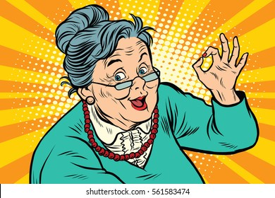 Grandma okay gesture, the elderly. Pop art retro vector illustration