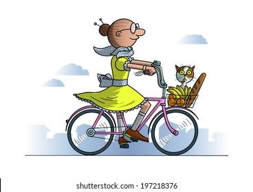 Grandma on bicycle with food and cat in basket