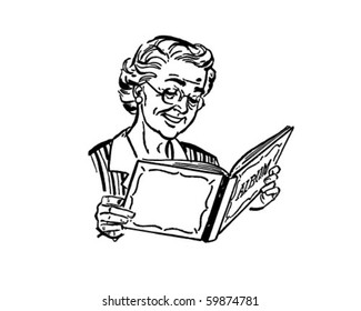 Grandma With Photo Album - Retro Clip Art