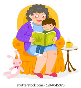 Grandma reading a story to her grandchild who is sitting on her lap