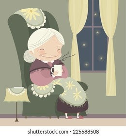 grandma relaxing at winter snowy night with a cup of tea, also, star shape vector illustration cartoon.