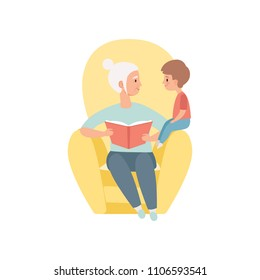Grandma sitting in the armchair and reading book to her little grandson, grandmother spending time playing with grandson vector Illustration on a white background