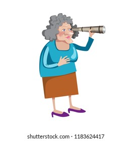 Grandmather with spyglass