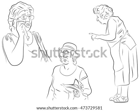 Grandmother Aged Woman Talking On Cell Stock Vector Royalty Free
