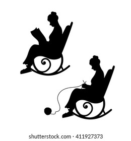 Grandmother with ball of yarn knits in a chair. Grandma reads the newspaper. The concept of old age, a home of warmth, comfort. Set of black silhouettes and icons. Set of vector illustrations.