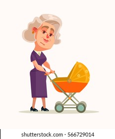 Grandmother character walking with newborn. Vector flat cartoon illustration