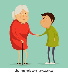 Grandmother and child holding hands. Happy grandparents day poster. Vector illustration in cartoon style
