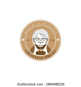 Grandmother cook logo for cafe or home cooking restaurant. Pastry and bakery logotype. Vintage Retro Bakery Shop Label Sticker Logo design vector