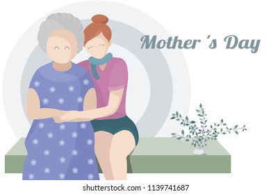 grandmother and daughter warmly hugging together mother's day concept,vector