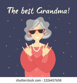 Grandmother day card design. Portrait of a senior woman smiling and wearing sunglasses. Vector flat cartoon illustration