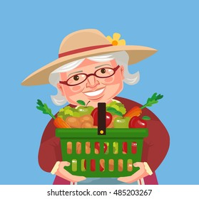 Grandmother farmer character hold basket with vegetables. Vector flat cartoon illustration
