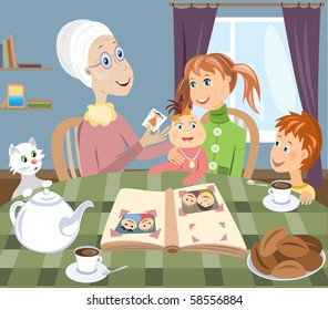 Grandmother and grandchildreds (vector version)