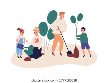 Grandmother with grandchildren plant a garden. Save ecology concept, environment help. Family dig, plant, water, spend time outdoors. Flat vector cartoon illustration isolated on white background