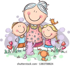 grandmother with grandchilren and pets, colorful vector clipart, no gradients