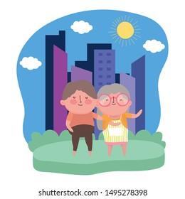 Grandmother and grandfather cartoon vector design vector illustration