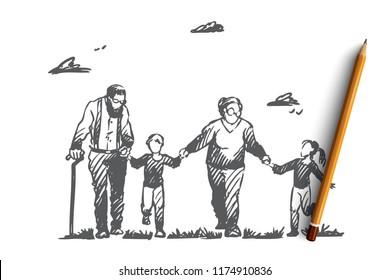 Grandmother, grandfather, grandchildren, family, generation concept. Hand drawn happy big family with grandmother and grandfather concept sketch. Isolated vector illustration.