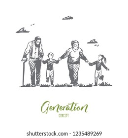 Grandmother, grandfather, grandchildren, family, generation concept. Hand drawn happy big family with grandmother and grandfather concept sketch. Isolated vector illustration.