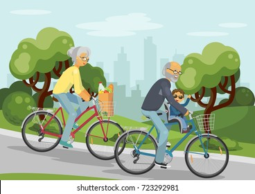 Grandmother and grandfather on bikes with grandchild. Senior couple over 50's cycling together outdoors in the city park. Concept family. Vector illustration.