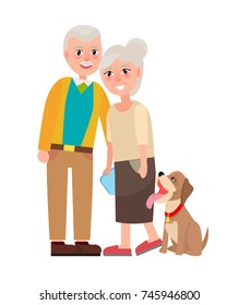 Grandmother and grandfather with pet isolated on white background. National Grandparents Day poster with adorable dog vector illustration