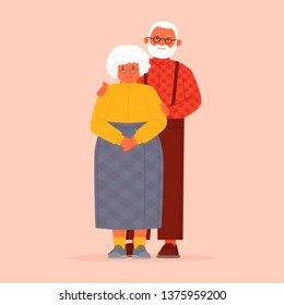 Grandmother and grandfather together. Grandparents. Elderly couple. A man and a woman of old age. Vector illustration in flat style