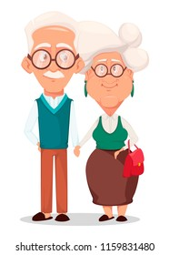 Grandmother and grandfather together. Silver haired grandma and grandpa holding hands of each other. Cartoon characters. Vector illustration on white background