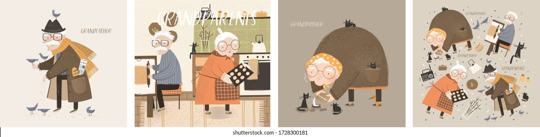 Grandmother and grandfather. Vector cute illustrations of elderly grandparents - an old man and an old woman at home in the kitchen for cooking, on the street they feed birds and cats.